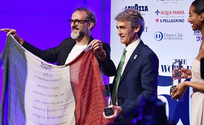 NEW YORK, NY - JUNE 13: LAVAZZA brand ambassador and chef Massimo Bottura (L) accepts his #1 Best Restaurant Award with Group Managing Director at William Reed Charles Reed at the World's 50 Best Restaurants 2016 Awards at Cipriani Wall Street on June 13, 2016 in New York City. (Photo by Bryan Bedder/Getty Images for Lavazza)